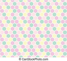 Hexagon seamless pattern in pastel colors.