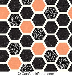 Hexagon seamless vector pattern. Geometric background with grunge texture. Black coral white modern abstract backdrop. Screen print retro style. Geometric distressed hexagon. For wallpaper, home decor