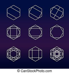 Hexagon set sacred geometry