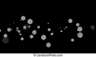 Hexagon shapes against black background - Digitally ...