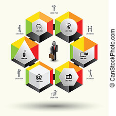 Hexagon template with icons