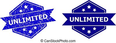 Hexagonal UNLIMITED stamp seal on a white background, with clean version. Flat vector blue grunge seal stamp with UNLIMITED message inside hexagoanl shape, ribbon is used also.