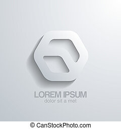 Hexagon vector shape icon. Business abstract 3d logo template.