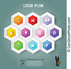 Hexagon with icons color
