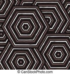 Hexagonal abstract Aboriginal line painting in vector...