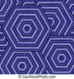 Hexagonal abstract Aboriginal line painting in vector format.