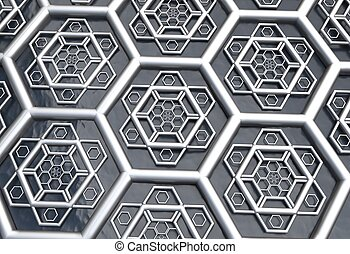 hexagonal abstract background 3d illustration