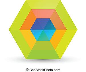 Hexagonal abstract design logo