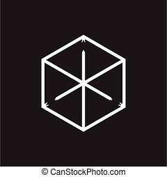 hexagonal arrow line logo vector