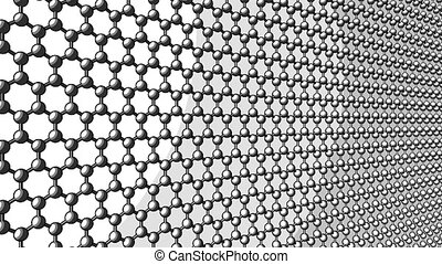 Hexagonal atomic structure. Sketch version for presentations and reports. 4K seamless loop dolly footage
