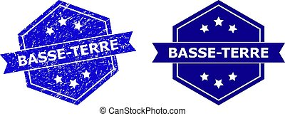 Hexagonal BASSE-TERRE stamp seal on a white background, with original version. Flat vector blue distress seal stamp with BASSE-TERRE title inside hexagoanl shape, ribbon used also.