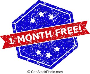 Hexagonal Bicolor 1 MONTH FREE! Stamp with Corroded Surface