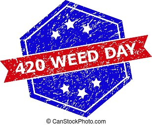 Hexagon 420 WEED DAY watermark. Flat vector blue and red bicolor scratched rubber stamp with 420 WEED DAY tag inside hexagoanl form, ribbon used. Rubber imitation with scratched style,