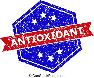 Hexagonal ANTIOXIDANT stamp seal. Flat vector red and blue bicolor grunge seal stamp with ANTIOXIDANT slogan inside hexagoanl form, ribbon used. Rubber imitation with unclean style,