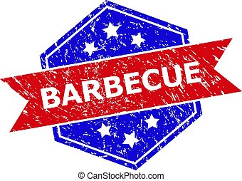 Hexagonal Bicolor BARBECUE Stamp with Corroded Texture