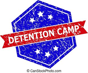 Hexagon DETENTION CAMP seal. Flat vector red and blue bicolor textured seal stamp with DETENTION CAMP message inside hexagon form, ribbon is used also. Imprint with unclean style,