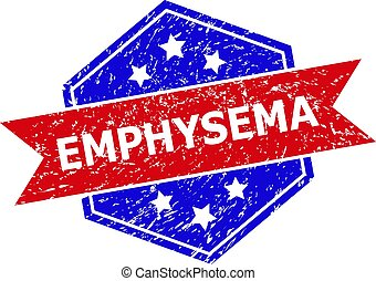 Hexagonal EMPHYSEMA seal stamp. Flat vector blue and red bicolor scratched seal stamp with EMPHYSEMA slogan inside hexagon shape, ribbon used also. Imprint with grunge style, on a white background.