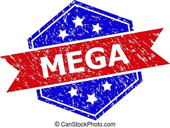Hexagon MEGA stamp seal. Flat vector red and blue bicolor distress rubber stamp with MEGA caption inside hexagon form, ribbon used. Rubber imitation with corroded style, on a white background.