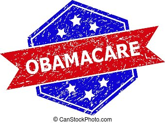 Hexagon OBAMACARE seal. Flat vector red and blue bicolor scratched seal with OBAMACARE title inside hexagon form, ribbon is used. Imprint with scratched surface, on a white background.