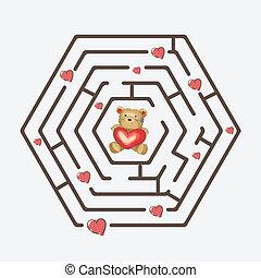 Hexagonal black maze with teddy bear holding a heart