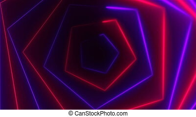Hexagonal bright long abstract neon tunnel is in the dark space, 3d render computer generated background