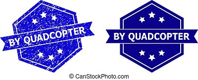 Hexagonal BY QUADCOPTER watermark on a white background, with source variant. Flat vector blue grunge watermark with BY QUADCOPTER caption inside hexagoanl form, ribbon used also.
