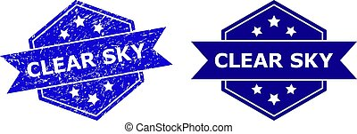 Hexagonal CLEAR SKY stamp seal on a white background, with source version. Flat vector blue distress seal stamp with CLEAR SKY title inside hexagon shape, ribbon is used also.