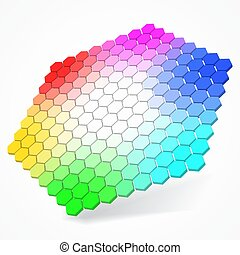 hexagonal color palette with small color hexagons. 3d style vector illustration.