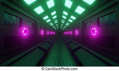 hexagonal, corridor., futuriste, lumière, lampes, murs, rendering., green-purple, 3d, doux, spacewalk., tunnel, vaisseau spatial