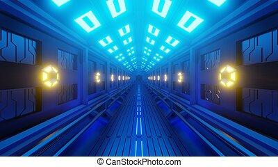 hexagonal, corridor., futuriste, lumière, lampes, murs, yellow-blue, rendering., 3d, doux, spacewalk., tunnel, vaisseau spatial