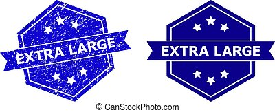 Hexagon EXTRA LARGE seal stamp on a white background, with clean variant. Flat vector blue distress seal stamp with EXTRA LARGE message inside hexagon shape, ribbon is used. Imprint with grunge style.