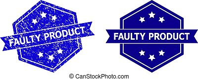 Hexagonal FAULTY PRODUCT stamp seal on a white background, with undamaged variant. Flat vector blue grunge seal stamp with FAULTY PRODUCT title inside hexagoanl form, ribbon is used also.