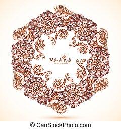 hexagonal frame in Indian mehndi style
