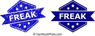 Hexagonal FREAK stamp seal on a white background, with original version. Flat vector blue scratched seal stamp with FREAK text inside hexagoanl shape, ribbon used. Watermark with unclean texture.