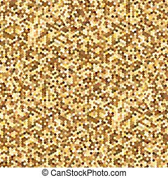 Hexagonal Gold glitter seamless pattern for holidays design. Abstract background for fashion design, glamour and other