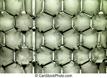Hexagonal green bubble textured background
