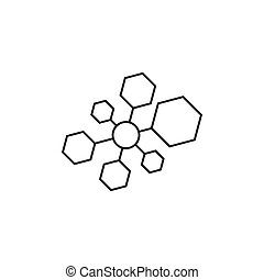 hexagonal linked connected line logo vector
