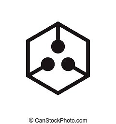 hexagonal linked dots logo vector