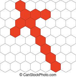 hexagonal, modèle, 03, 3d