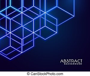 hexagonal neon shapes abstract technology background design