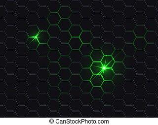 Hexagonal polygon abstract dark background.