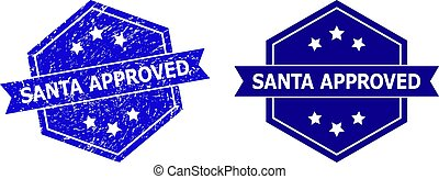 Hexagonal SANTA APPROVED Stamp with Unclean Texture and Clean Version