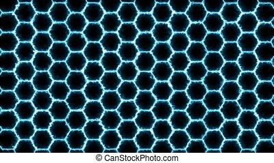 hexagonal, seamless, sci-fi, futuriste, technologie, concept, surface, branché, loop., pattern., hexagons., fond