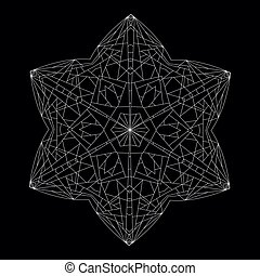 Hexagonal  Star. Geometric Contour Figure Polyhedron.
