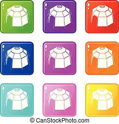 Hexagonal tent icons set 9 color collection