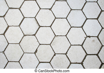 hexagonal tiles - White hexagonal tile floor detail for ...