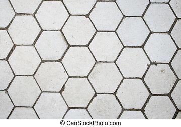 White hexagonal tile floor detail for background use