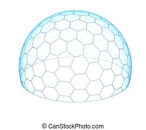 hexagonal, transparente, cúpula