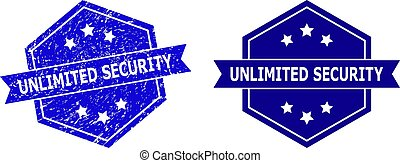 Hexagonal UNLIMITED SECURITY watermark on a white background, with original version. Flat vector blue scratched watermark with UNLIMITED SECURITY caption inside hexagon form, ribbon is used also.