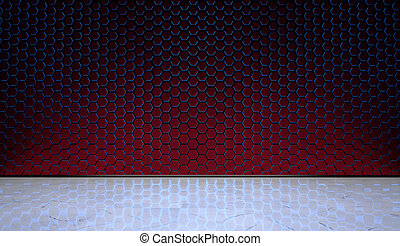Hexagonal Wall with Marble Floor